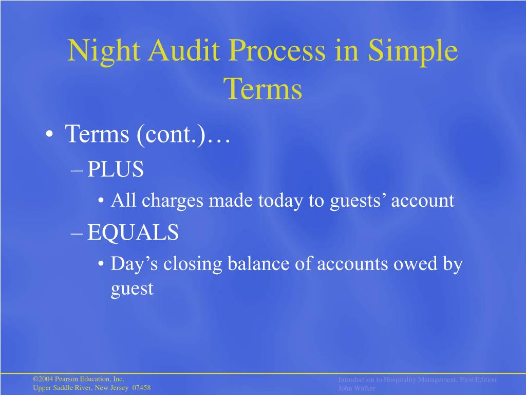 the night audit procedure Select end of day sequencenight audit to display the end of day sequence procedures menu from this menu select run additional procedures to help with corrections, adjustments, and.