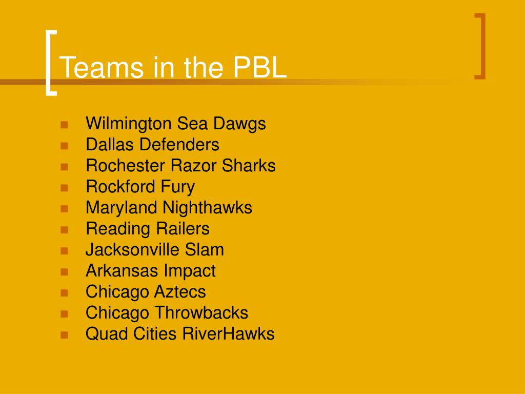 Teams in the PBL