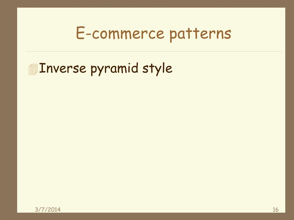 E-commerce patterns