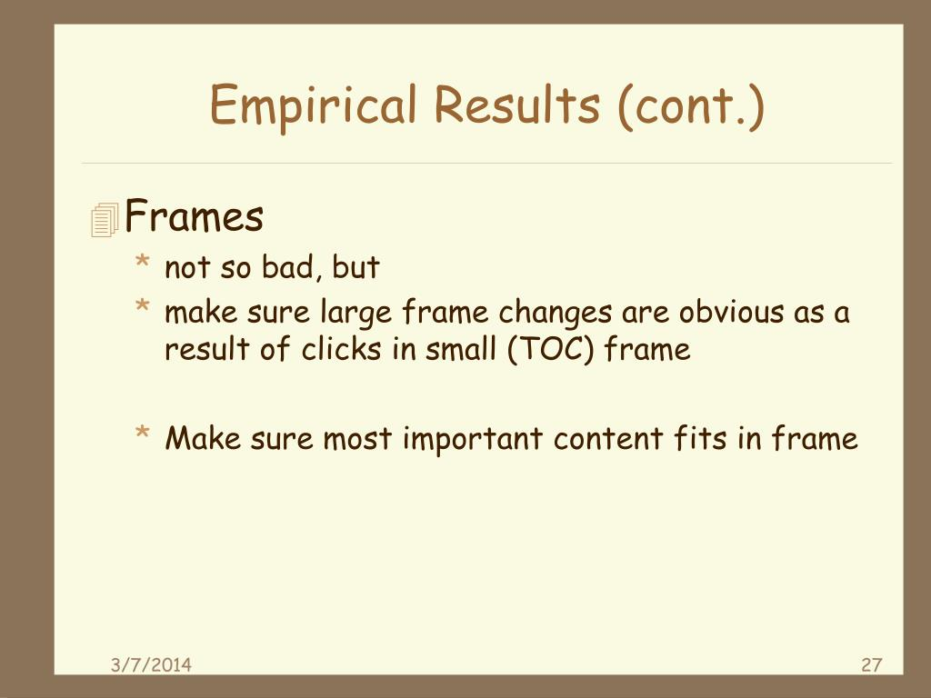 Empirical Results (cont.)