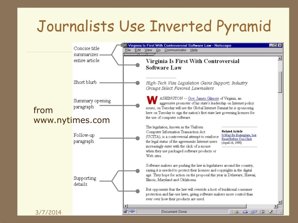 Journalists Use Inverted Pyramid