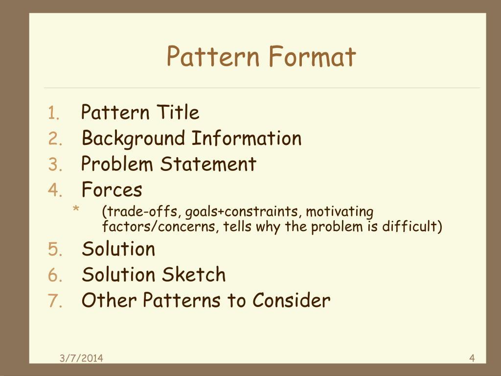 Pattern Format