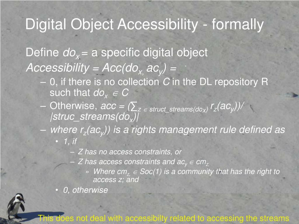 Digital Object Accessibility - formally
