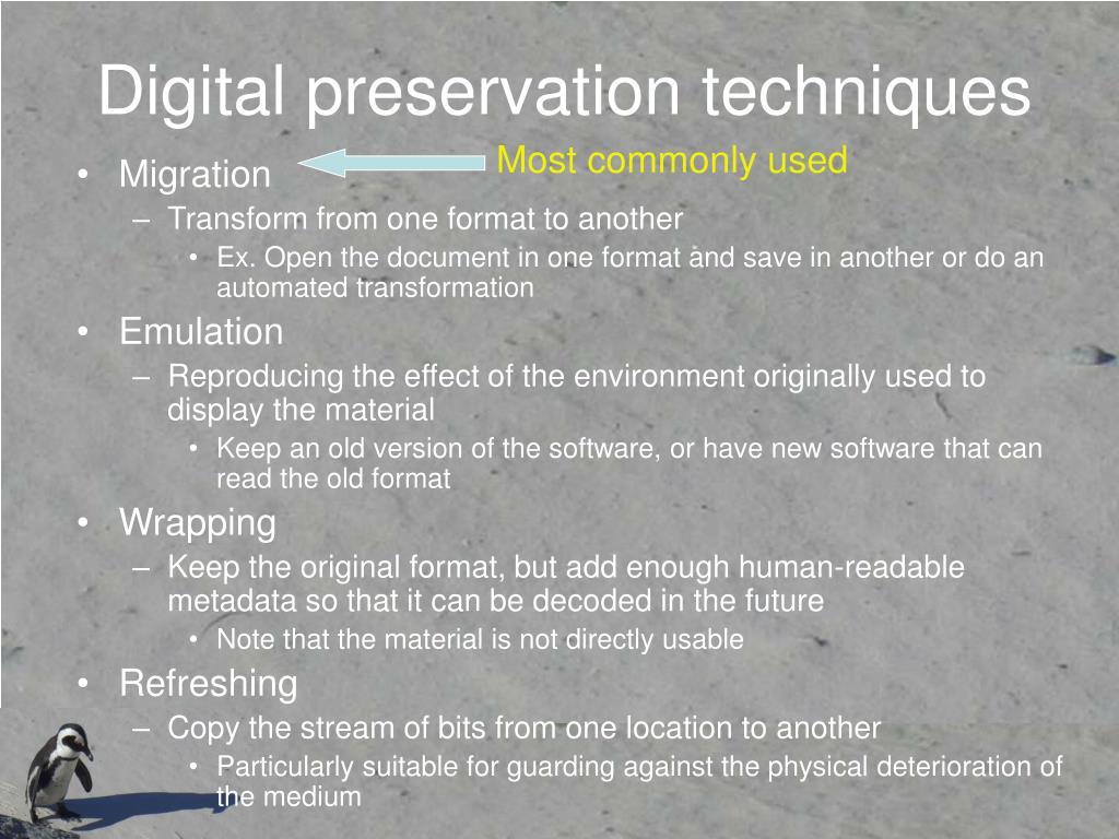 Digital preservation techniques