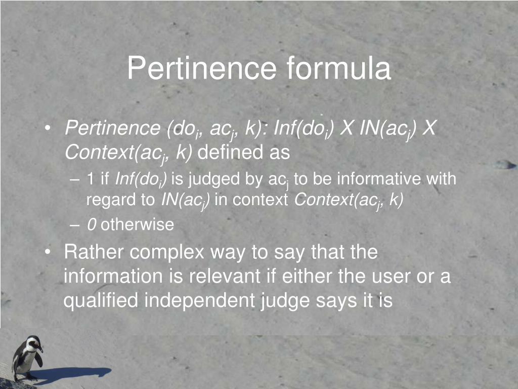 Pertinence formula
