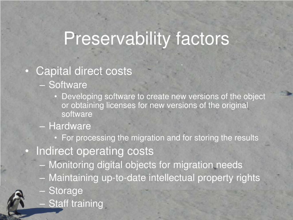 Preservability factors