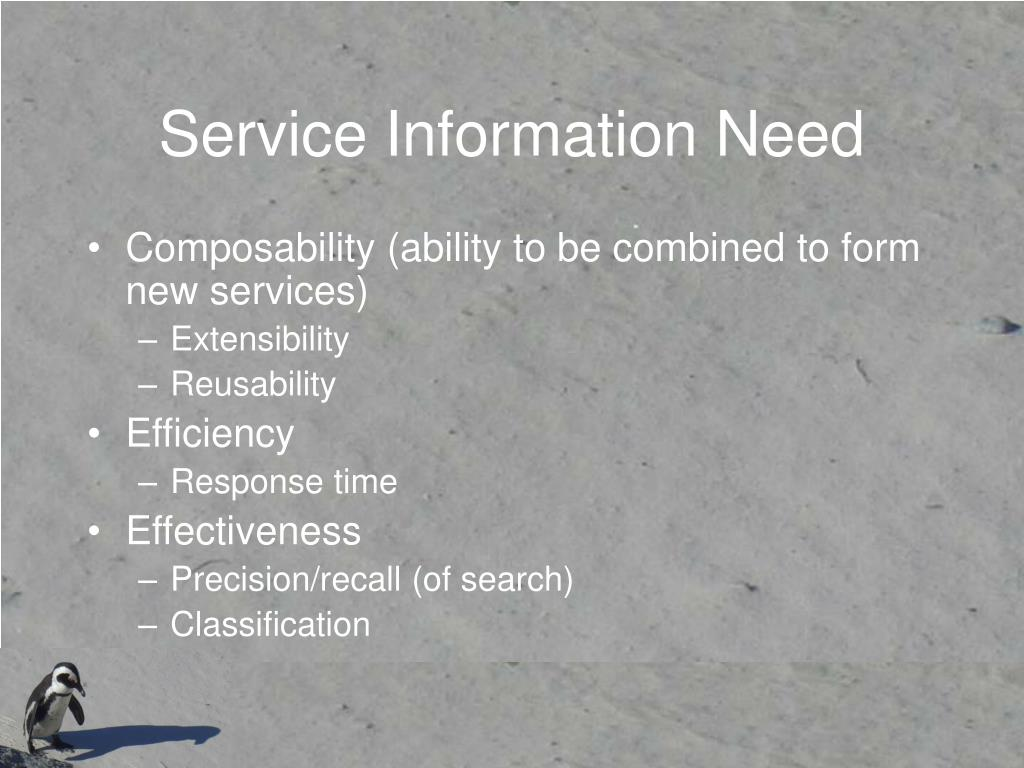 Service Information Need
