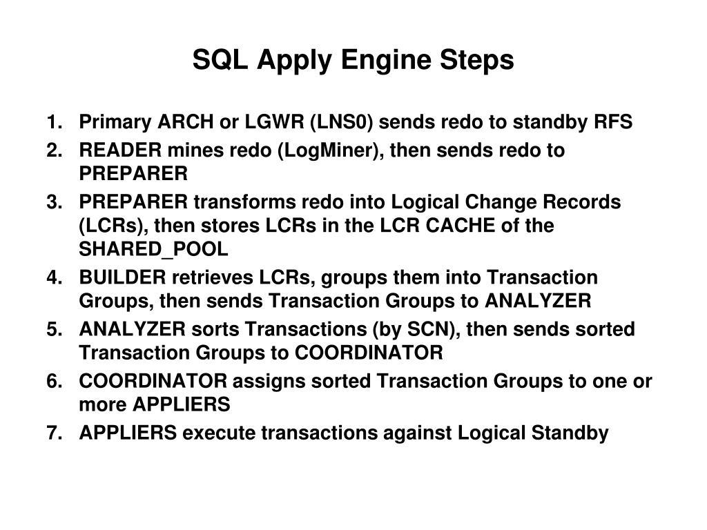 SQL Apply Engine Steps