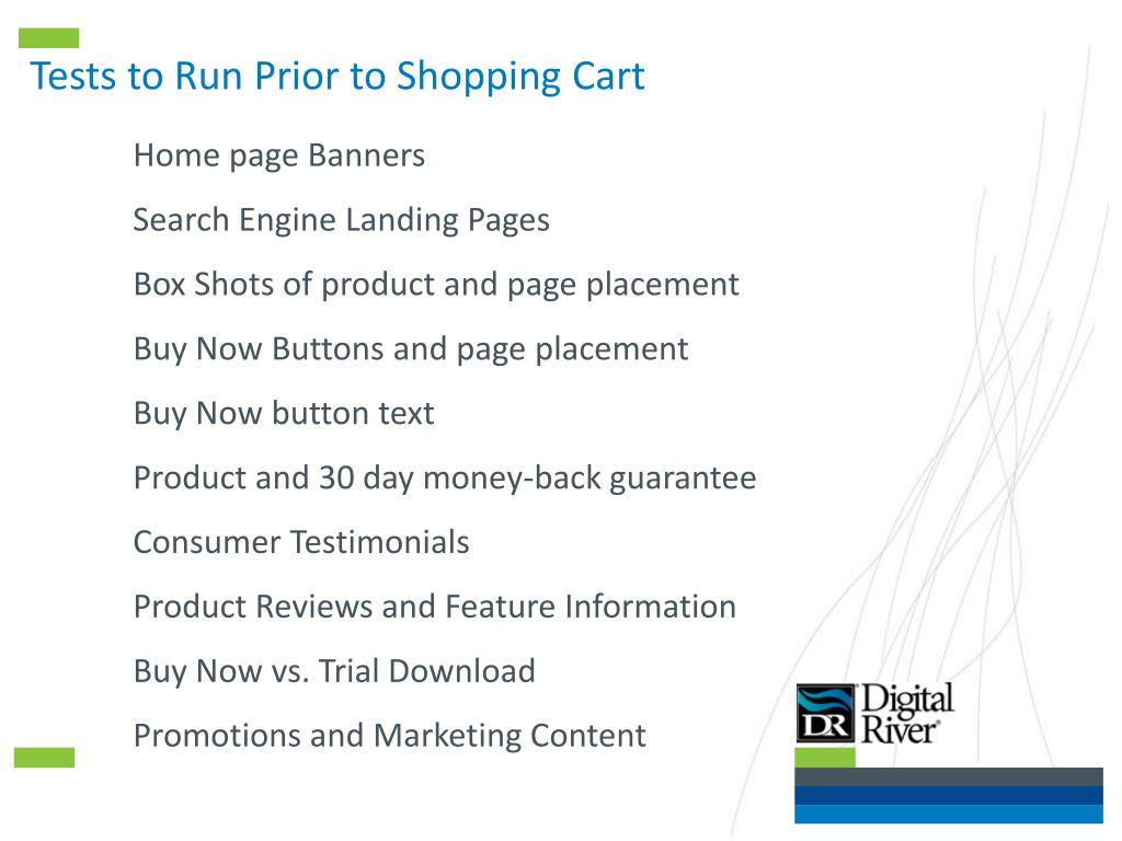 Tests to Run Prior to Shopping Cart