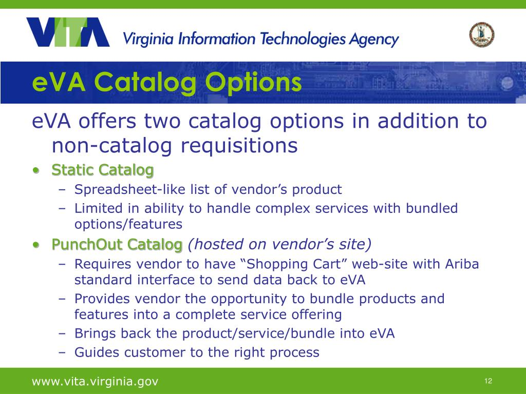 eVA Catalog Options