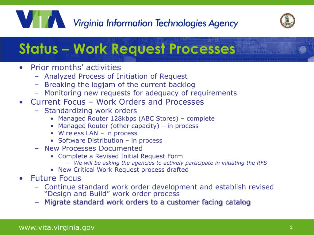 Status – Work Request Processes
