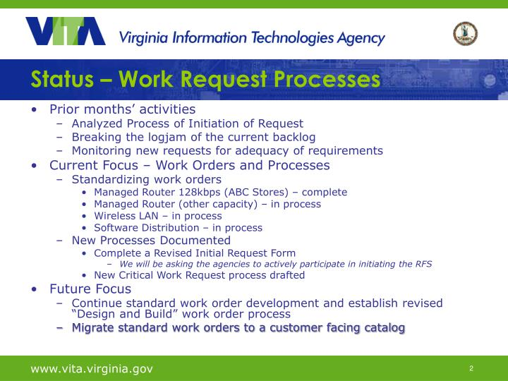 Status work request processes