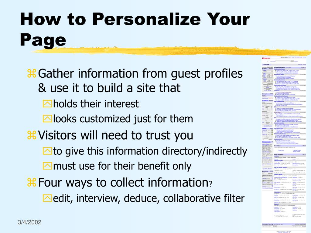 How to Personalize Your Page
