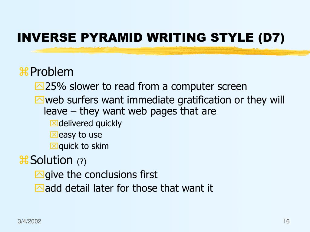 INVERSE PYRAMID WRITING STYLE (D7)