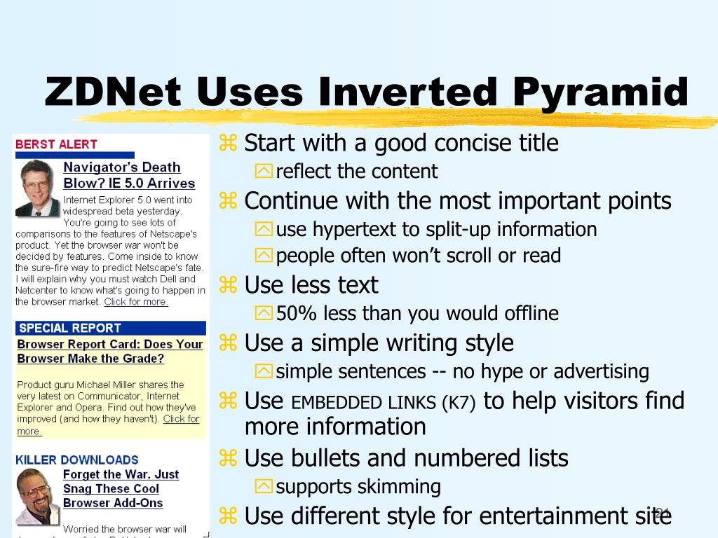 ZDNet Uses Inverted Pyramid
