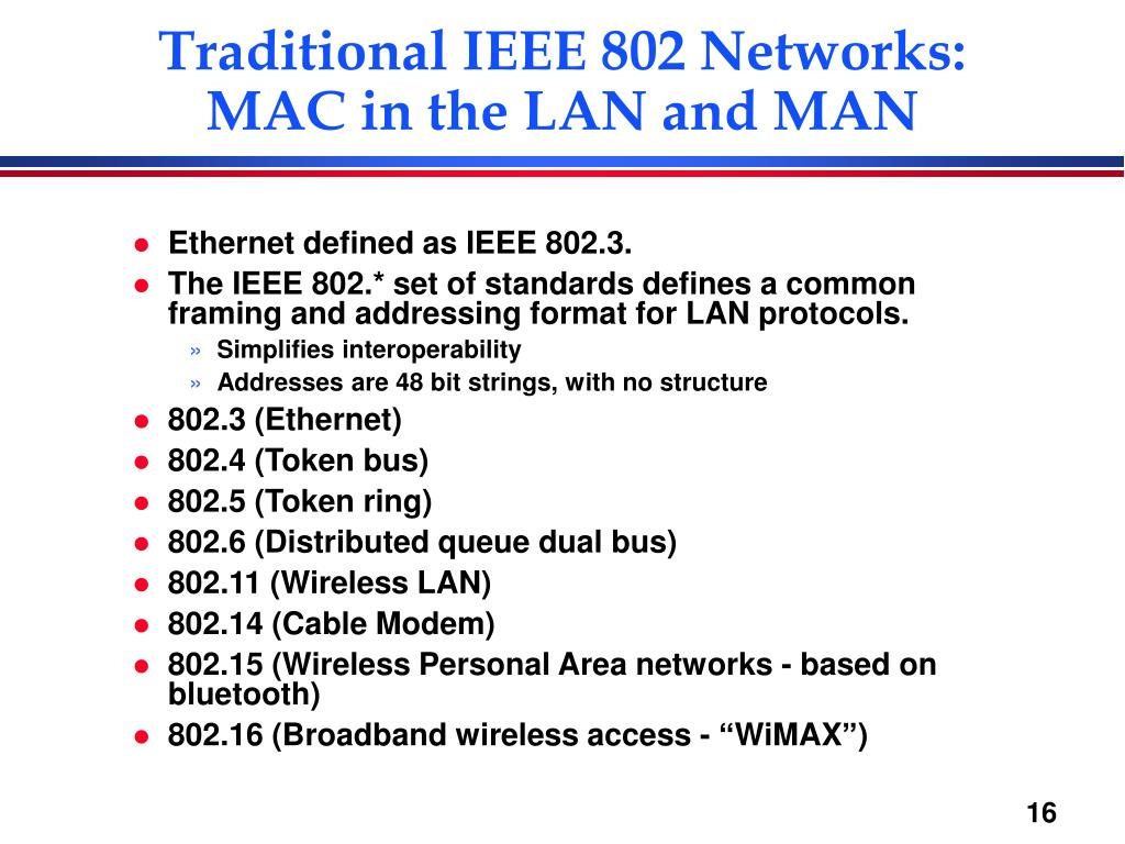 Traditional IEEE 802 Networks: