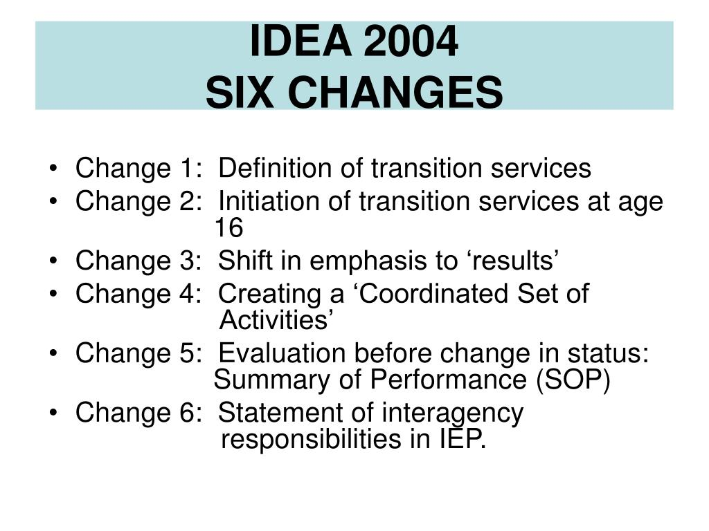 Change 1:  Definition of transition services