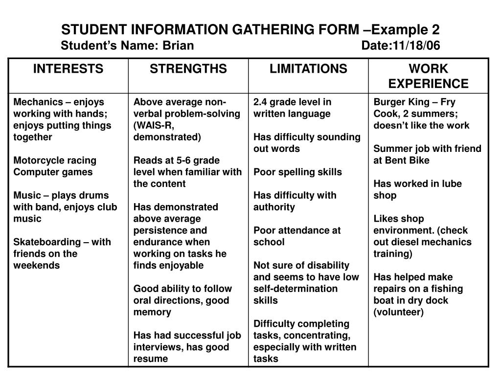 STUDENT INFORMATION GATHERING FORM –Example 2
