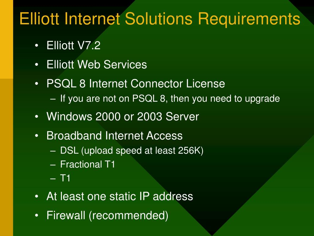 Elliott Internet Solutions Requirements