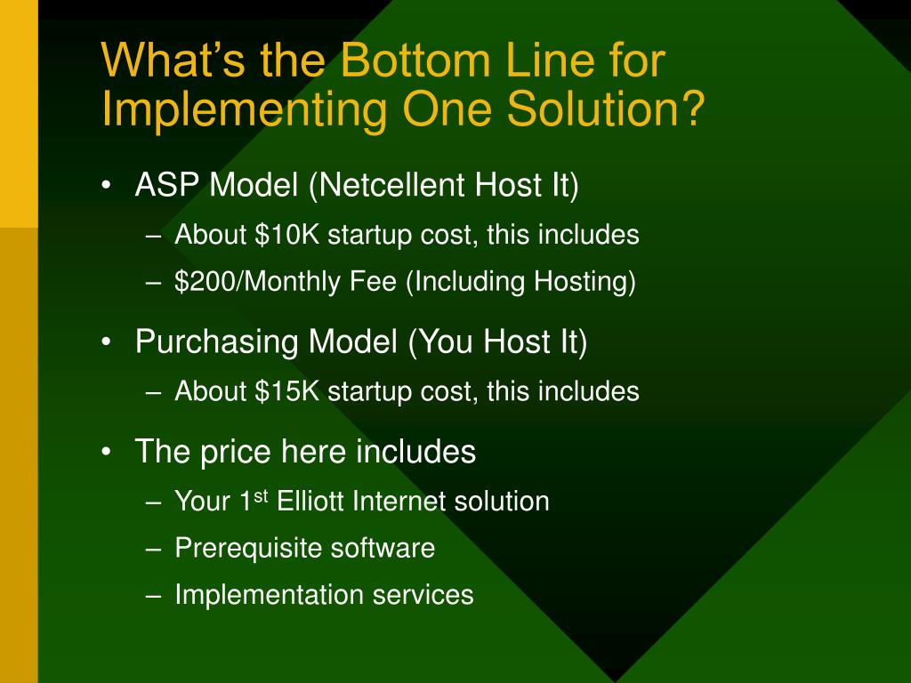 What's the Bottom Line for Implementing One Solution?