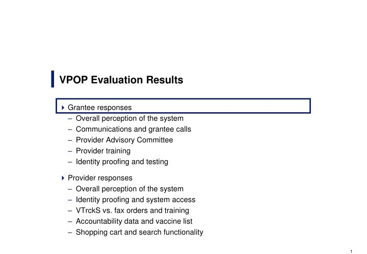 Vpop evaluation results