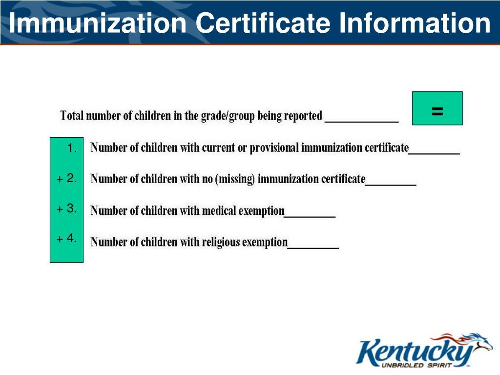 Immunization Certificate Information