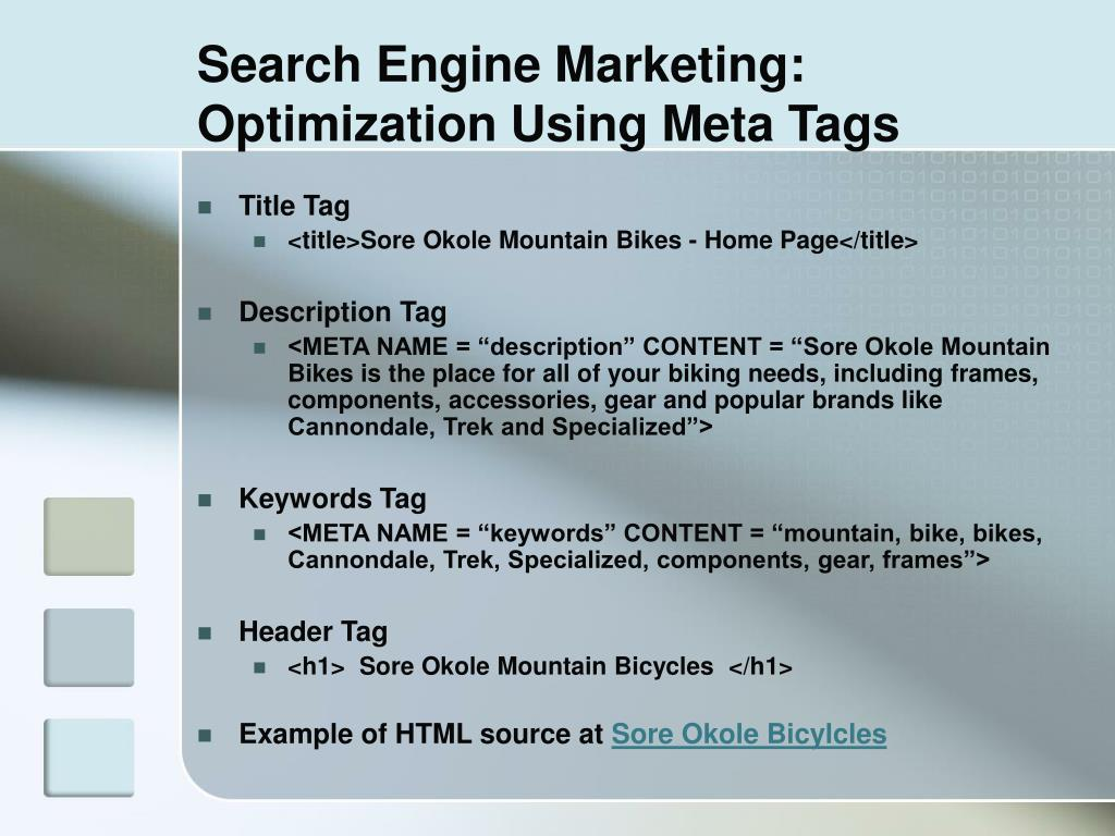 Search Engine Marketing: Optimization Using Meta Tags