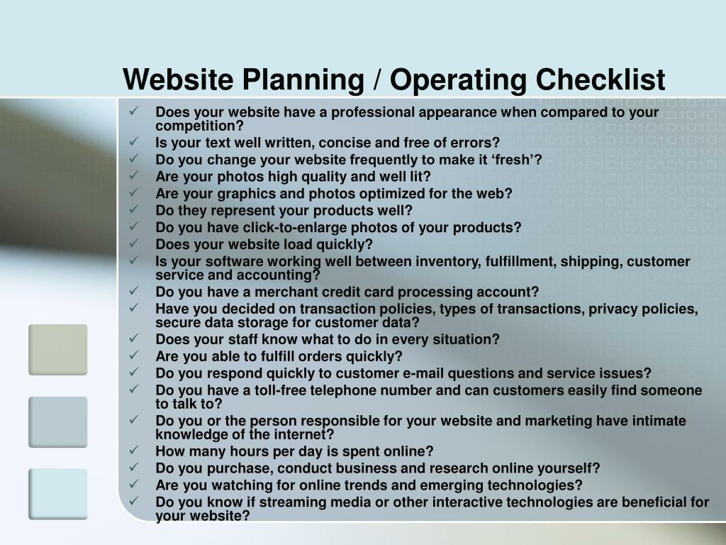 Website Planning / Operating Checklist