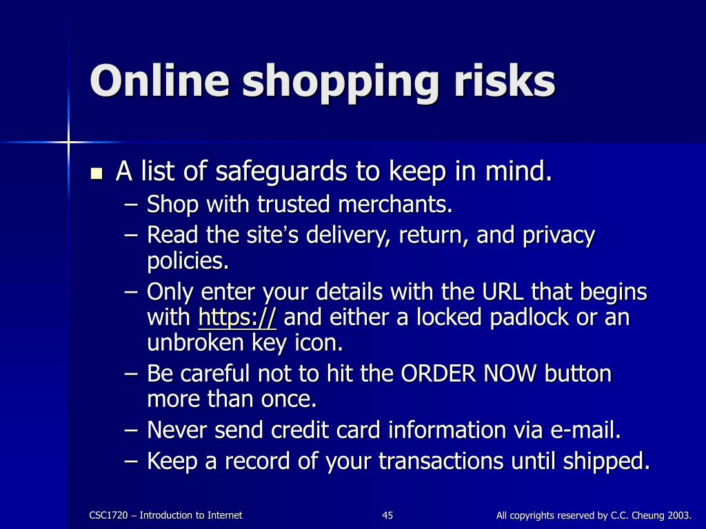 Online shopping risks