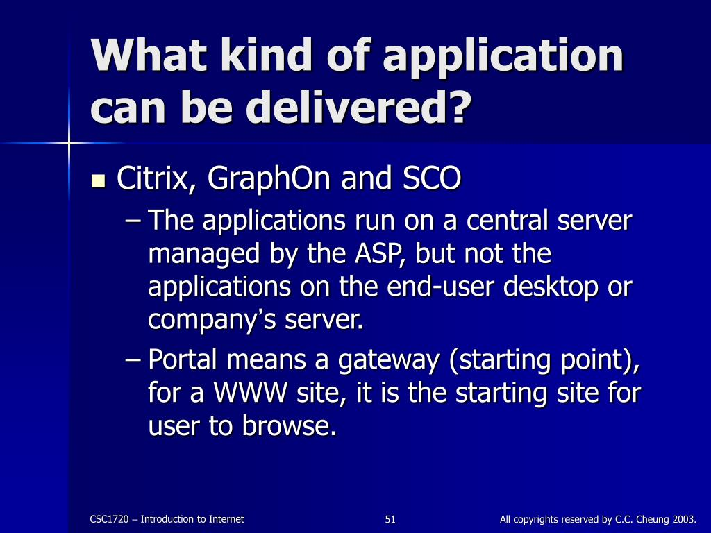 What kind of application can be delivered?