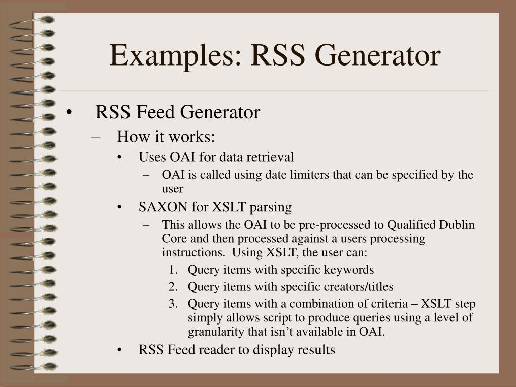 Examples: RSS Generator