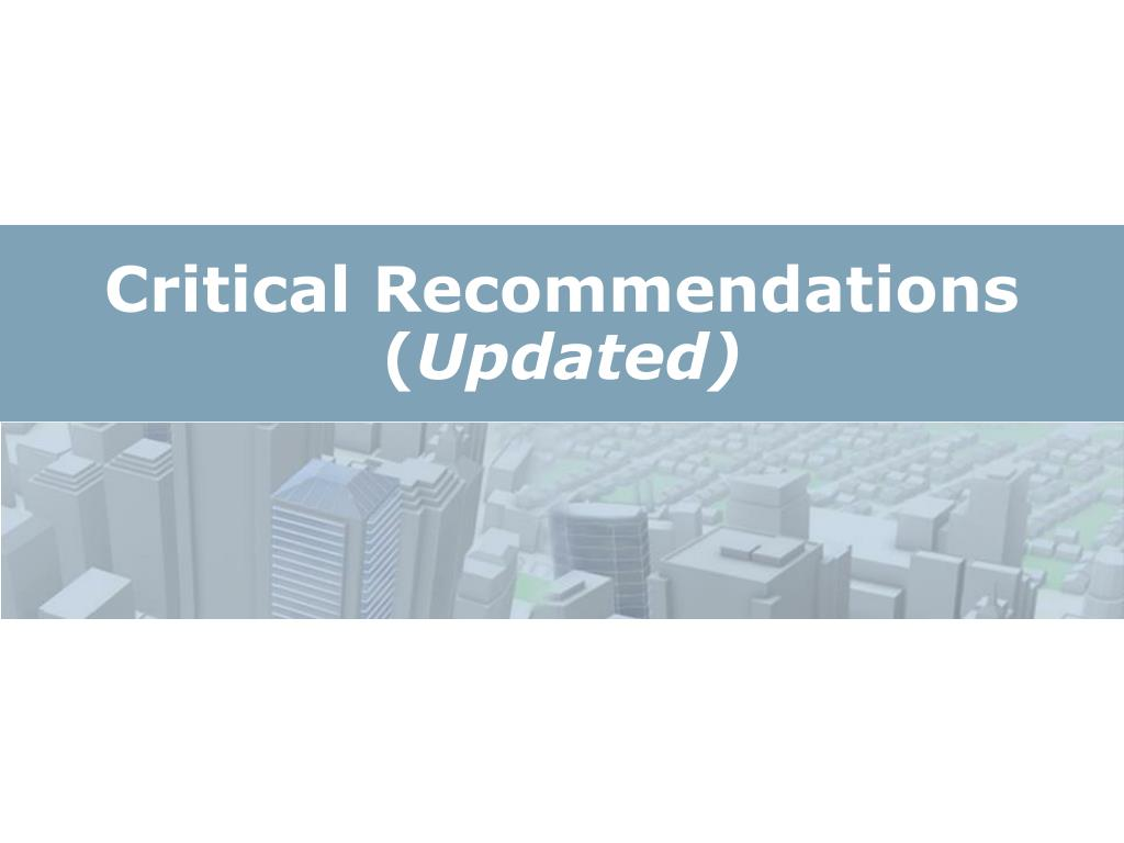 Critical Recommendations