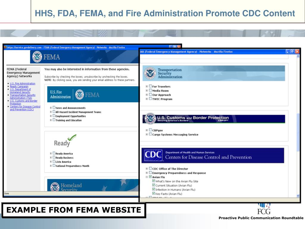 HHS, FDA, FEMA, and Fire Administration Promote CDC Content