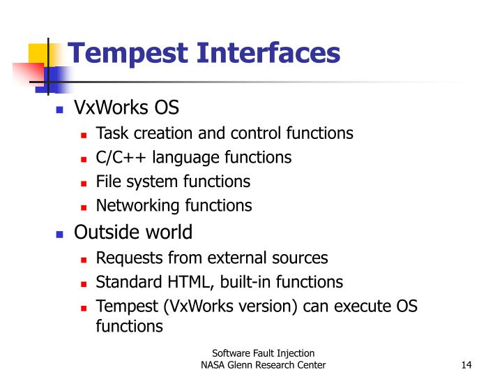 Tempest Interfaces