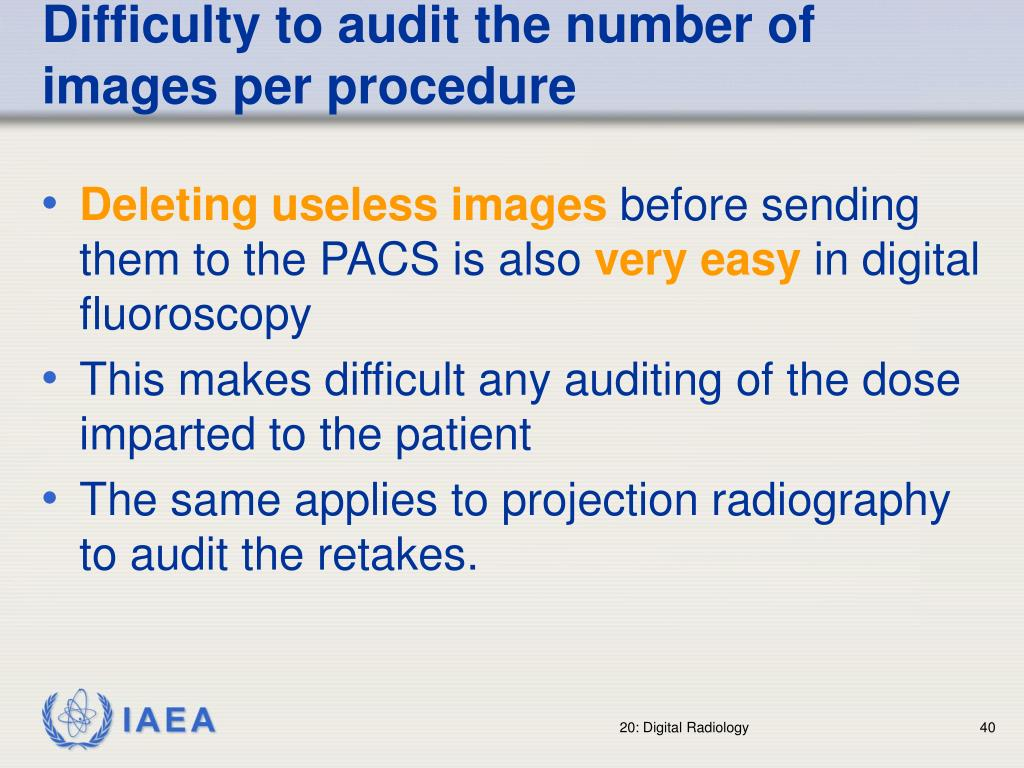 Difficulty to audit the number of images per procedure