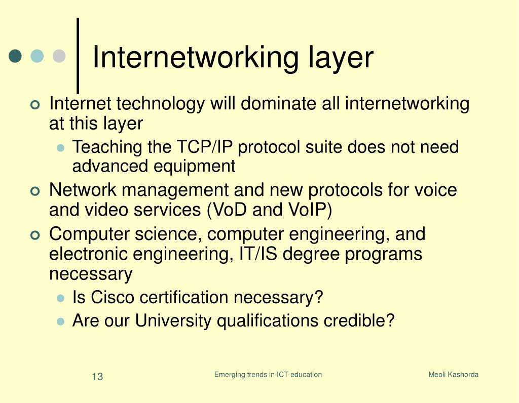Internet technology will dominate all internetworking at this layer