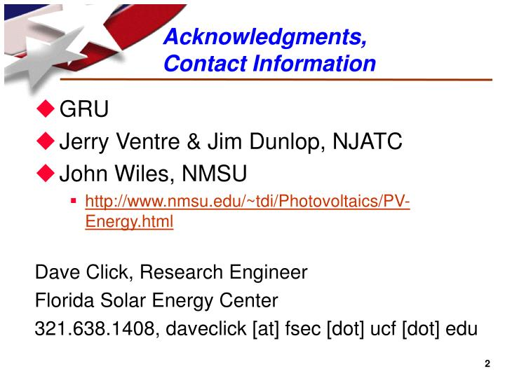 Acknowledgments contact information