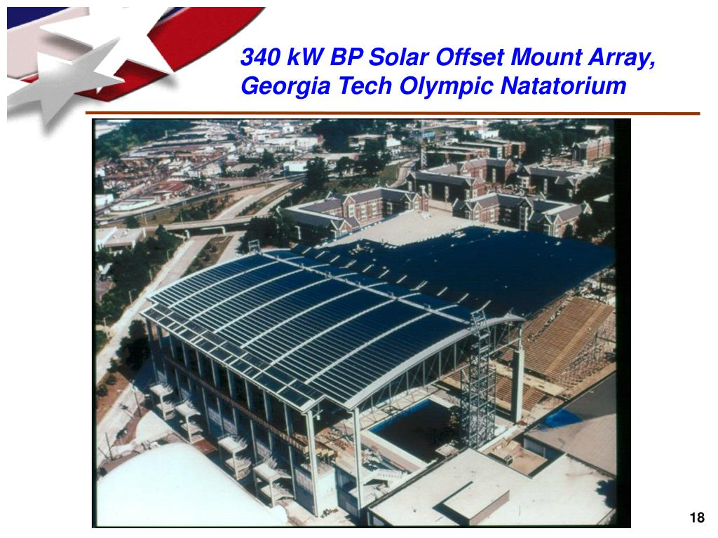 340 kW BP Solar Offset Mount Array, Georgia Tech Olympic Natatorium