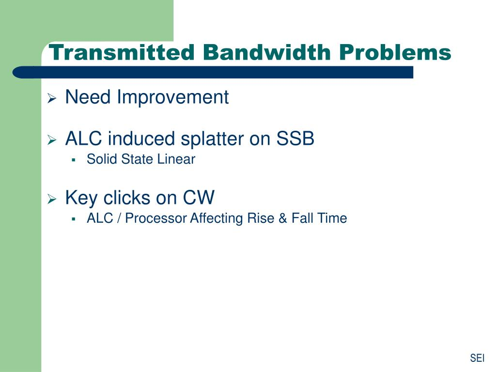 Transmitted Bandwidth Problems