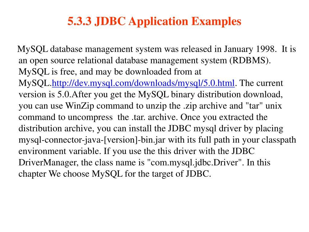 5.3.3 JDBC Application Examples