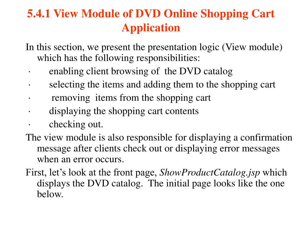 5.4.1 View Module of DVD Online Shopping Cart Application