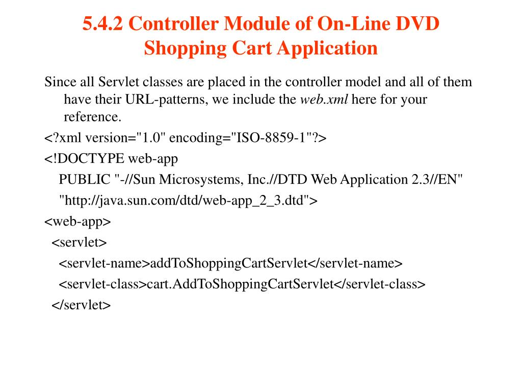 5.4.2 Controller Module of On-Line DVD Shopping Cart Application