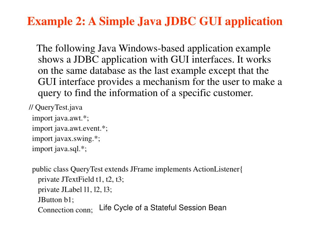 Example 2: A Simple Java JDBC GUI application