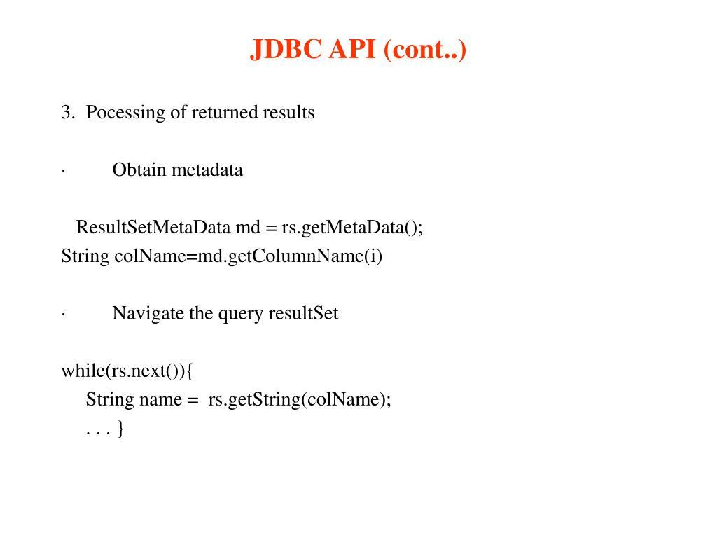 JDBC API (cont..)