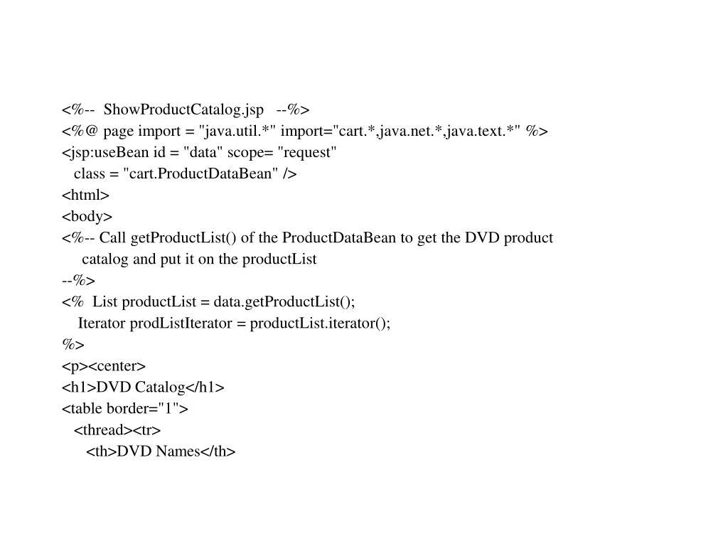 <%--  ShowProductCatalog.jsp   --%>