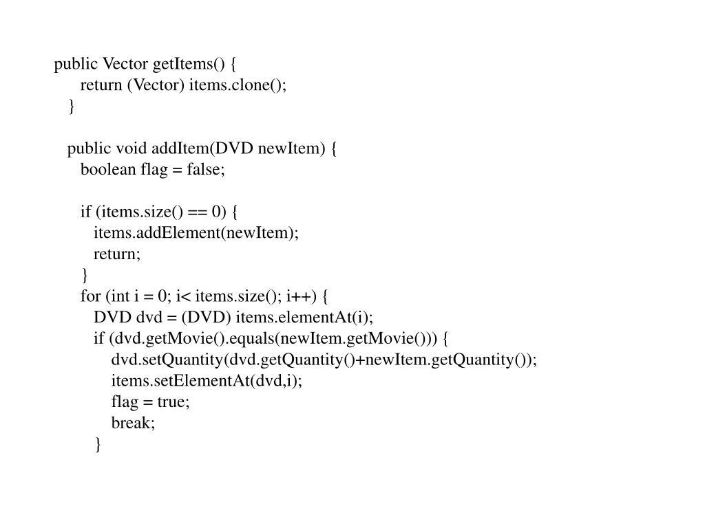 public Vector getItems() {