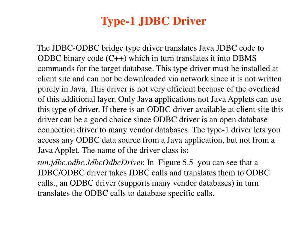 Type-1 JDBC Driver