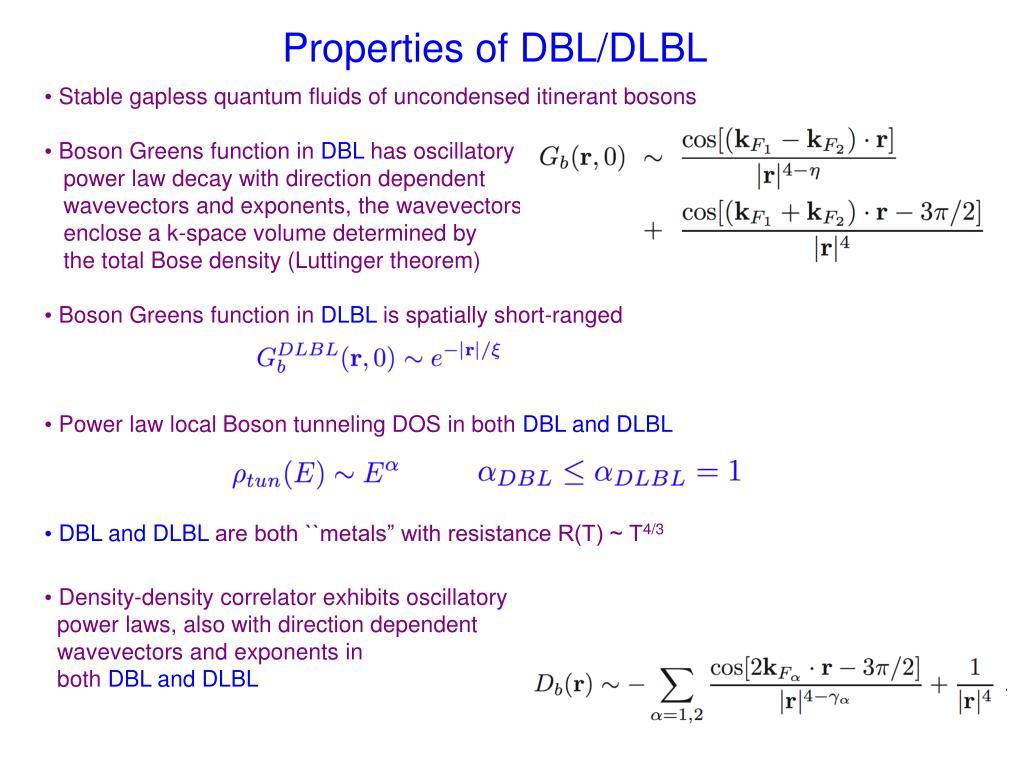 Properties of DBL/DLBL