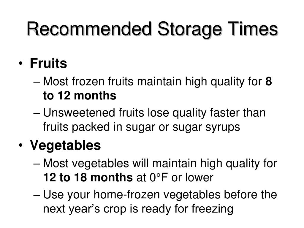 Recommended Storage Times