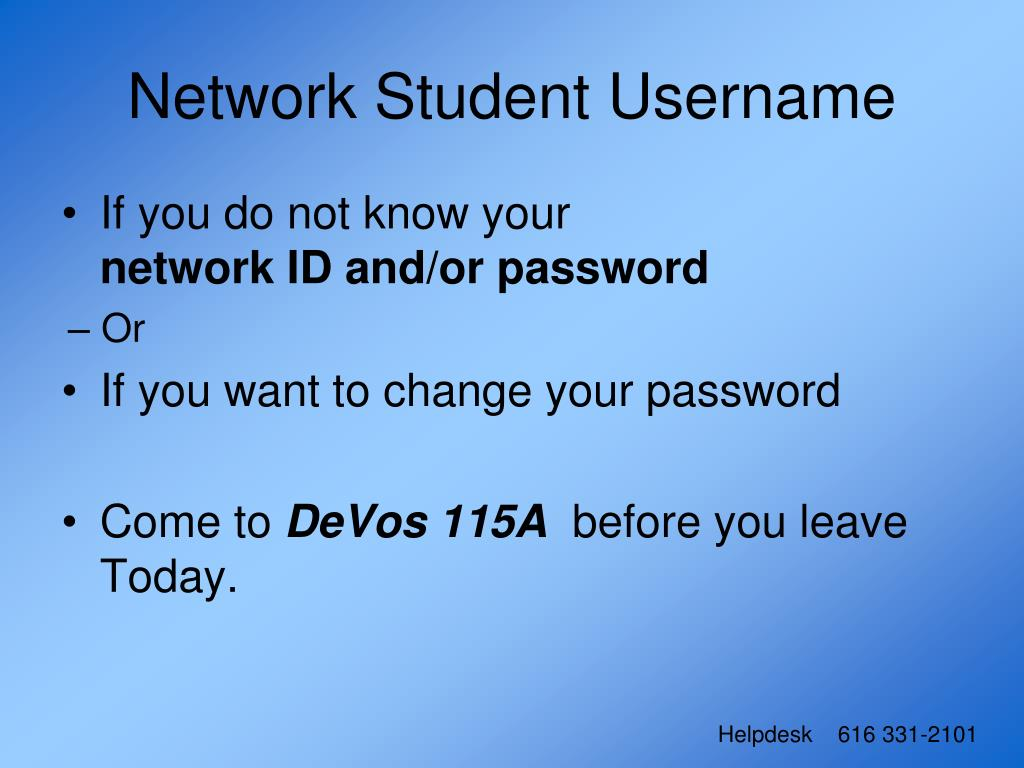 Network Student Username